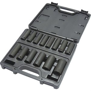"14 PIECE 1/2"" DRIVE METRIC DEEP SOCKET SET"